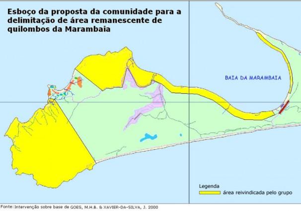 Em amarelo, área onde está instalada a comunidade quilombola de Marambaia, a cerca de 20 km de onde o governo federal quer construir duas bases da Marinha