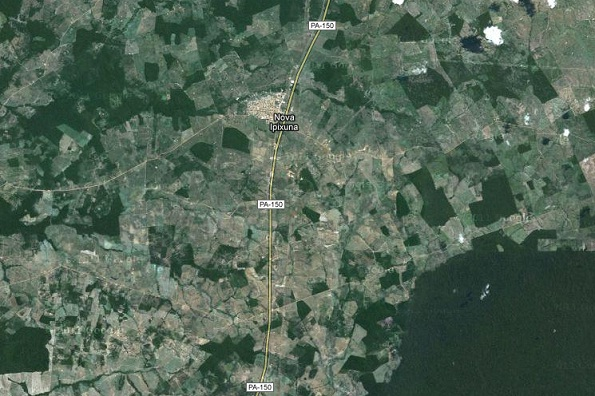 Município de Nova Ipixuna, no sul do Pará, onde o verde da Amazônia vem sendo gradualmente substituído por pastos e áreas desmatadas. Imagem: Reprodução