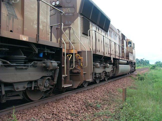 Trem leva ao mesmo tempo vagões de carga e carro com passageiros (Foto: Daniel Santini)