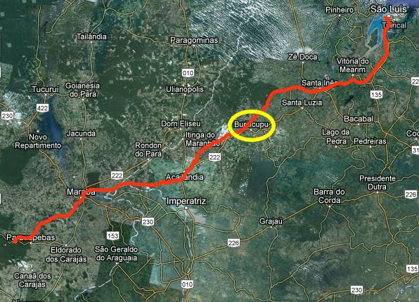 No destaque em amarelo, trecho onde houve acidente. Trajeto da Estrade de Ferro Carajás vai Parapuebas, no Pará, até São Luís, capital do Maranhão