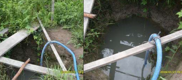 Poço de onde o grupo tirava água para beber sem nenhum tipo de filtragem ou tratamento