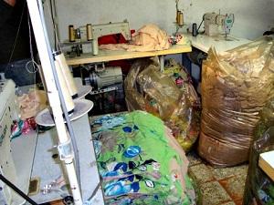 Oficina em que boliviano vítima de tráfico de pessoas trabalhava em São Paulo. Foto: SRTE/SP