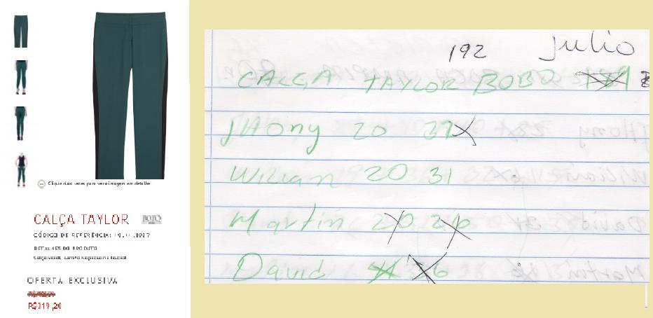 Calça Taylor, em promoção no site da Bo.Bô por R$ 319,20. No destaque, caderno com registro da produção dos costureiros, que ganhavam R$ 5 por peça