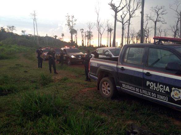 Equipe Caveira, da polícia paraense, realiza diligência na fazenda. Foto: Divulgação