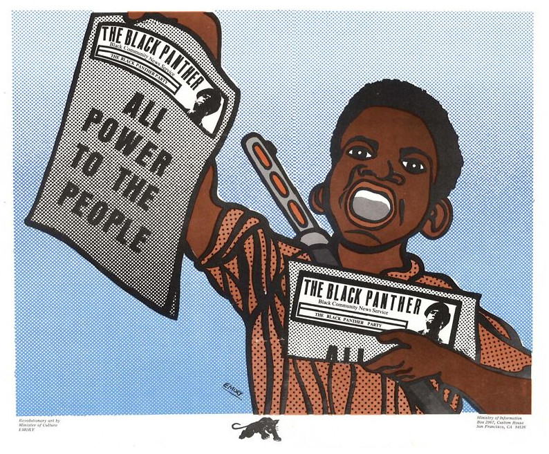 Ilustração da época retrata entrega de jornais pelo movimento (Imagem: Emory Douglas)