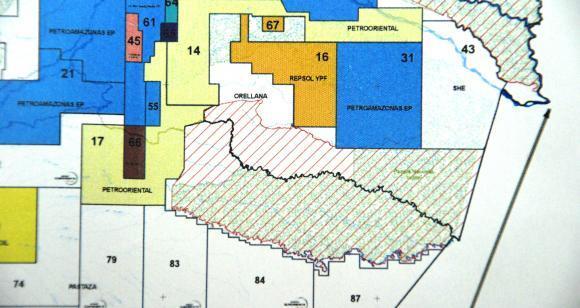 Mapa dos blocos petrolíferos no Parque Nacional Yasuní. Imagem: Divulgação
