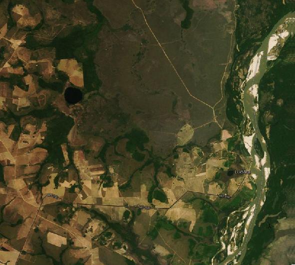 Plantações de soja avançam em direção ao município de Luciara, conforme é possível ver via satélite. Imagens: MapBox