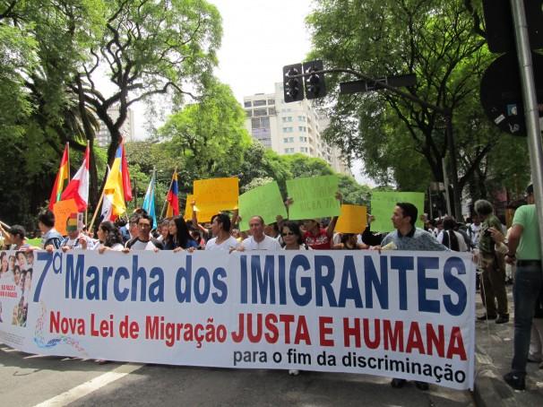 Ao redor de mil manifestantes mostraram a sua presença na capital paulista