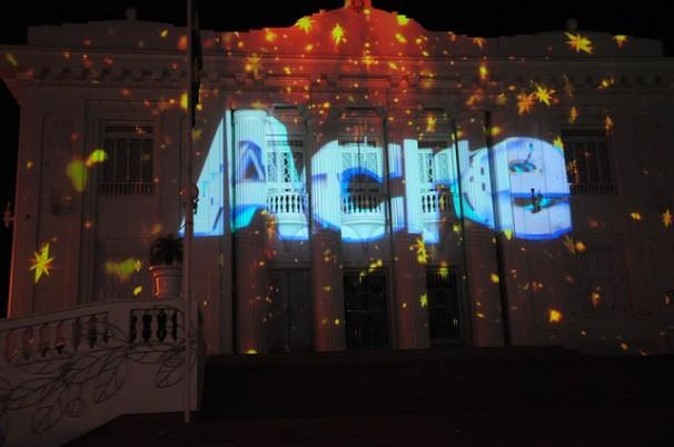 Projeção no Palácio Rio Branco. Foto: Victor Agusto/Secon