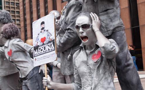 Trabalhadores bancários protestam em São Paulo (Foto: Zé Carlos Barretta/ Flickr)