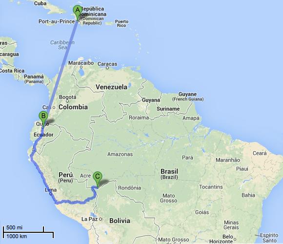 Caminho percorrido pelos haitianos que chegam ao Brasil por Brasileia, no Acre (Imagem: Reprodução/Google Maps)