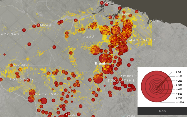 Mapa de resgates reforça relação entre trabalho escravo e desmatamento na Amazônia