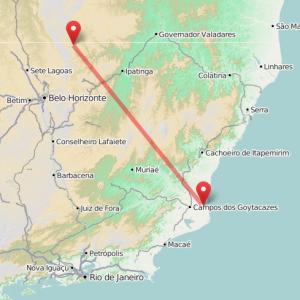 Clique no mapa para ver a região do sistema Minas-Rio, que deve construir mineroduto com 525 quilômetros de extensão, entre Conceição do Mato Dentro (MG) e São João da Barra (RJ) (Imagem: reprodução OpenStreetMap.org)