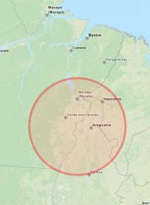 Área atingida pelo Programa Grande Carajás (clique na imagem para ver a área no OpenStreetMap)