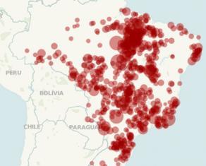 Mapa com casos de trabalho escravo no Tableau