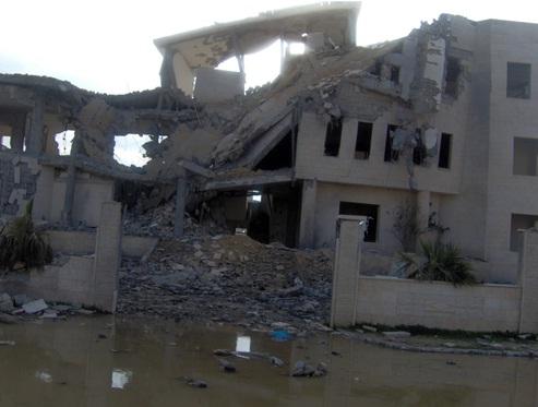 O prédio do Comitê Olímpico e Paraolímpico Palestino após bombardeio de Israel a Gaza em 2009. Foto: Divulgação/ Associação Palestina de Futebol