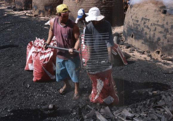Vestindo chinelos e bermudas sujeitos ao pó e à fumaça resultantes da queima do carvão. Foto: SRTE-GO