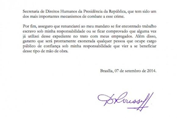 Assinatura da presidenciável Dilma Rousseff (PT) à Carta-Compromisso contra o Trabalho Escravo de 2014
