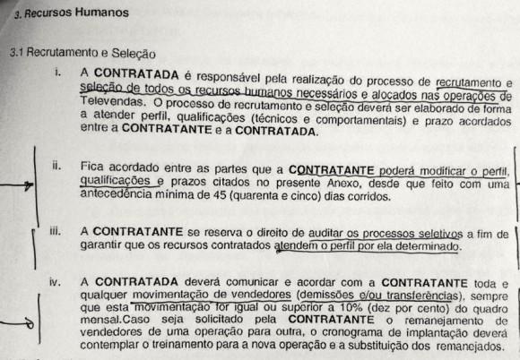 Documento da Oi para a Contax com instruções para o 'recrutamento' de trabalhadores. Foto: MTE