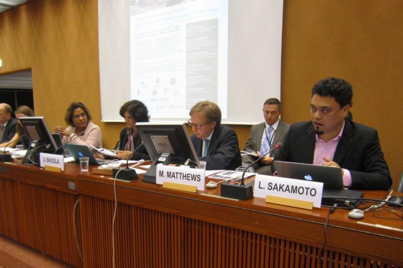 Coordenador da Repórter Brasil discursa nas Nações Unidas. Foto: ONU/Divulgação