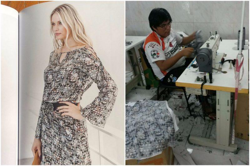 Catálogo (à esquerda) tem roupa com a mesma estampa encontrada na oficina (à direita). Foto: Piero Locatelli e MTPS