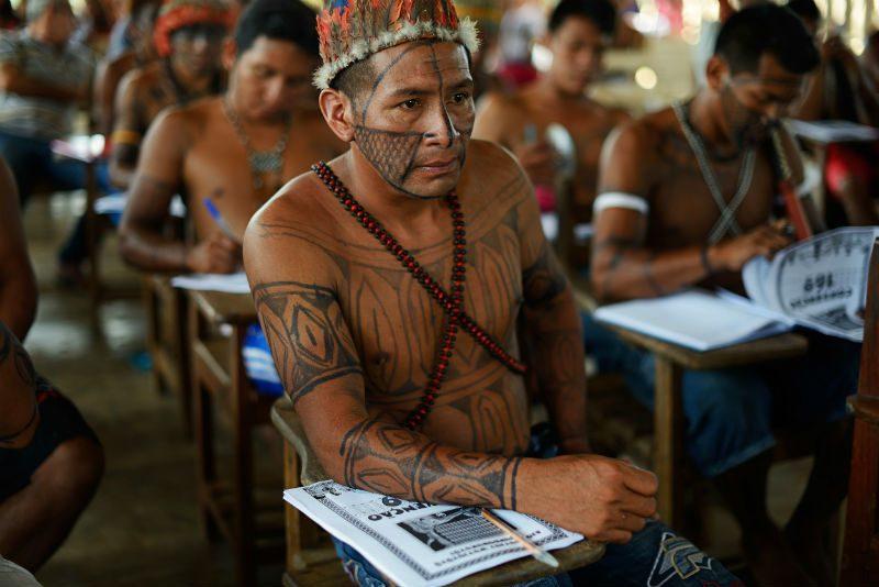 Indígena Munduruku durante oficina sobre a Convenção 169. Foto: Gabriel Bicho/Greenpeace