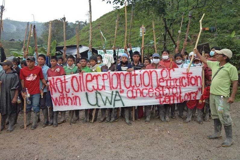 Protesto de indígenas por Consulta Prévia. Foto: Reprodução/Facebook