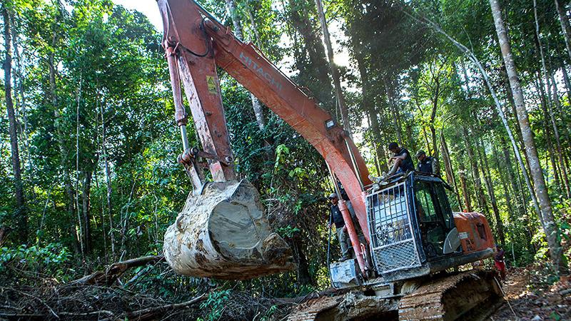 Uma das máquinas que abre crateras na floresta. Icmbio calculou mais de um milhão em equipamentos