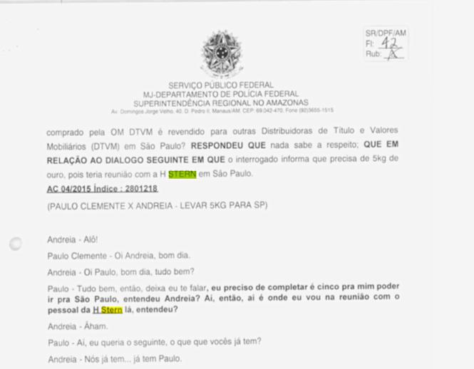 Trechos de inquéritos da Polícia Federal que citam as investigações sobre a HStern