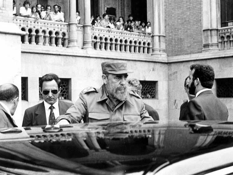 Fidel Castro durante visita à Fiocruz em 20 de março de 1990